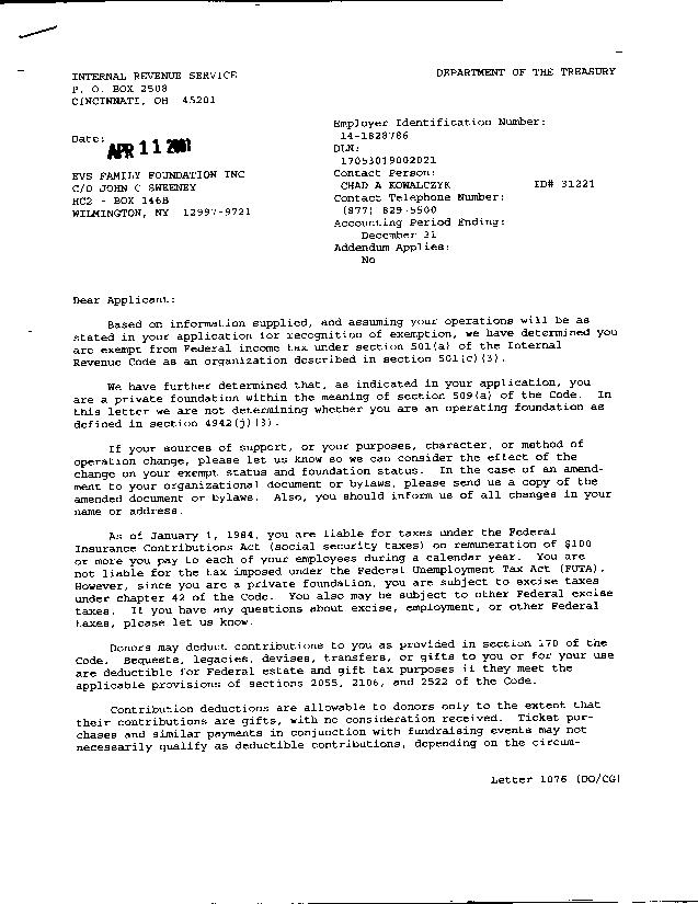 irs determination letter page 1
